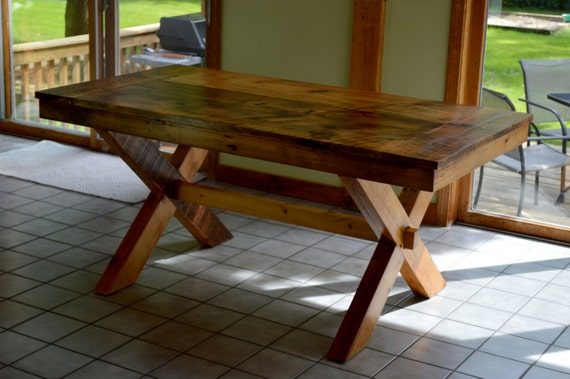 Cameron Dining Table Reclaimed Barnwood Farmhouse Top On Etsy