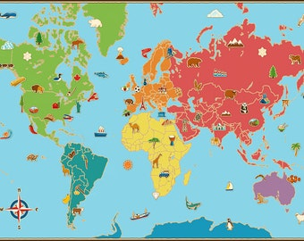Kids World Map Etsy - World map poster colour in