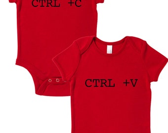 Ctrl + C/Ctrl + V (Copy & Paste) Funny Twin Set Baby Grows Baby Shower Gift Present New Mum Twins Siblings Identical Humour New Dad Bundle