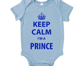 Keep Calm I'm A Prince Funny Slogan Baby Grow Humour Gift Present Keep Calm And Carry On Baby Shower Birthday