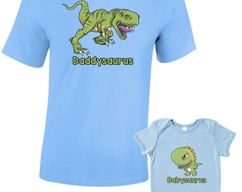 Daddysaurus and T-Shirts or Baby Grow - Matching Father Child Gift Set (2 shirts) - Father's Day Present Mum Son Daughter Dad