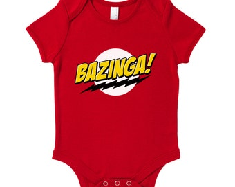 Bazinga Baby Grow Humour Gift Present Baby Shower Birthday