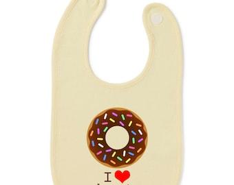 I Love Donuts Funny Slogan Baby Bib Humour Gift Present Baby Shower Birthday