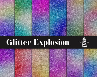 Glitter Explosion Digital Paper, Color Explosion Backgrounds, Rainbow Gradient Glitter Papers, Colorful Metallic Paper, BUY5FOR8