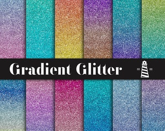 Gradient Glitter Digital Paper, Ombre Glitter Backgrounds, Metallic Papers, Multicolor Glitter Gradient, Commercial Use, BUY7FOR10