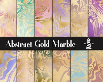 Flüssiges Gold Papier, Gold abstrakte Muster, bunte Farbverlauf Hintergründe, abstrakte Scrapbook Papiere, modernes Muster, BUY12FOR15