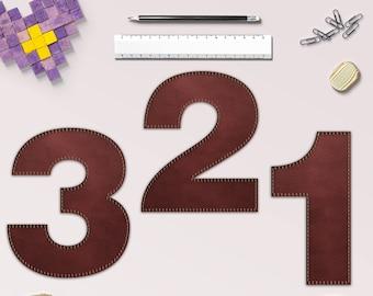 Genähte Leder Zahlen genäht Leder Nummer Clipart, 10 Leder-Nummern für Scrapbooking, Basteln, Einladungen & mehr, BUY5FOR8