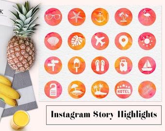 Sommer Instagram Geschichte hebt, Aquarell Instagram-Icons, Aquarell markieren Abdeckungen, Reisen Instagram Symbole, BUY3FOR6