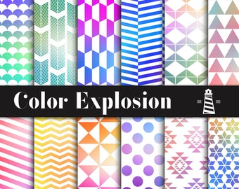 Color Explosion Digital Paper, Color Explosion Patterns, Rainbow Gradient Papers, Colorful Gradient Patterns, Commercial Use, BUY5FOR8