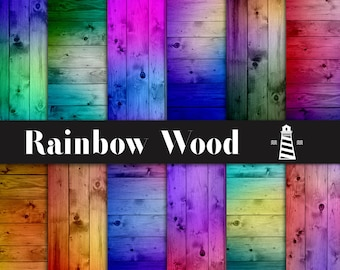 Rainbow Wood Digital Paper, Wood Texture Paper, Rainbow Wood Backgrounds, Color Explosion Textured Papers, For Commercial Use, BUY7FOR10