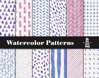 Bunte Aquarell Muster, Aquarell Papier, von Hand bemalt Aquarell Muster, Dreiecke, Streifen, Regentropfen, Flecken, BUY7FOR10