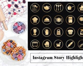 Instagram Geschichte hebt Küchenutensilien Symbole, Gold Instagram-Küche-Symbol, Goldfolie Instagram Geschichten, Kochen Symbole, Symbole, BUY5FOR8