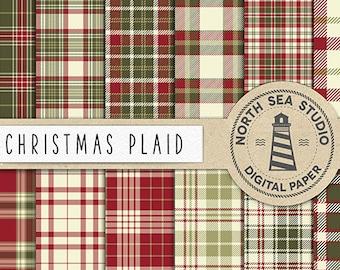 Christmas Plaid Digital Paper Pack   Scrapbook Paper   Printable Backgrounds   12 JPG, 300dpi Files