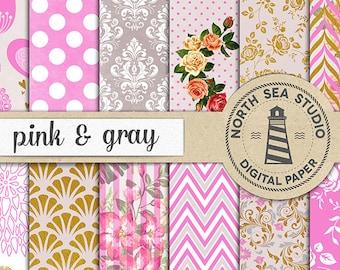 PINK GARDEN | Digital Paper Pack | Pink & Gray Scrapbook Paper | Printable Backgrounds | 12 JPG, 300dpi Files | BUY5FOR8