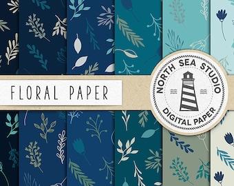 TERRARIUM, Floral Digital Paper, Hand Drawn Patterns, Floral Backgrounds, Blue Shades, 12 JPG 300 DPI Files, Instant Download, BUY5FOR8