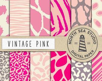 Jahrgang SAFARI, rosa Tier Papier rosa Safari Hintergründe, Tier-Print Papier, für Kartengestaltung, Papier, Gutschein-Code: BUY5FOR8