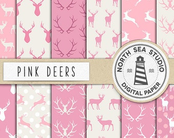 JUST PINK, Deer Digital Paper, Deer Paper, Deer Backgrounds, Woodland Deers Patterns, Reindeer Paper, Instant Download, BUY5FOR8