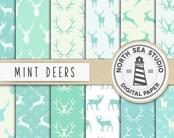 Deer Digital Paper, Mint Deer Paper, Deer Backgrounds, Woodland Deers Patterns, Reindeer Paper, Forest Animals, Instant Download, BUY5FOR8