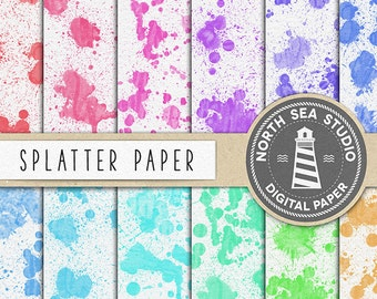 ABSTRACT ART, Splatter Digital Paper, Watercolor Splatter Background, Rainbow Colorful Splatters, 12 JPG Files, Commercial Use, BUY5FOR8