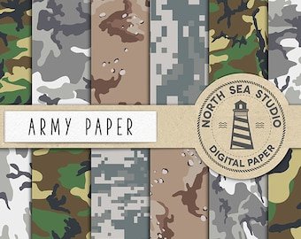 ARMY FORCE, Camouflage Digital Paper, US Army Paper, Military Backgrounds, 12 Scrapbooking Paper, Instant Download, Coupon Code: BUY5FOR8