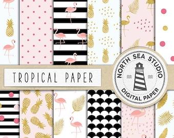 EXOTIC TASTE, Digital Paper, Tropical Backgrounds, Summer Patterns, Flamingo, Pineapple, Summer, Birds, Leaves, Coupon Code: BUY5FOR8