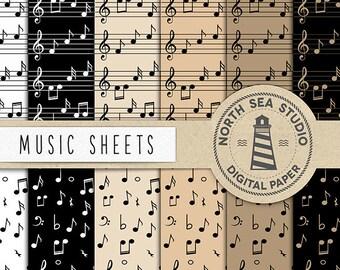 SINGEN, Musik Papier, Musik Blatt Papier, musikalische Themen, kommerzielle Lizenz, Instant Download, Musik Scrapbook Papiere, BUY7FOR10