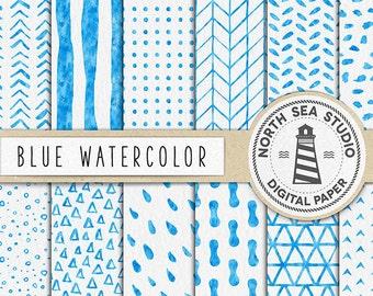 BLAUE Tinte, Papier, von Hand bemalt Muster, blauen Aquarell Muster, Aquarell gemusterten Papier, Gutschein-Code: BUY5FOR8