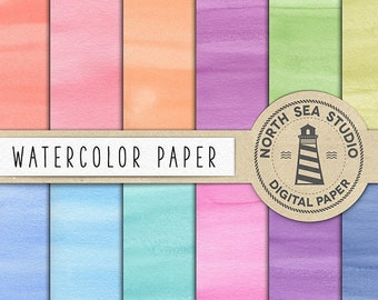 BUY 5 FOR 8, Watercolor Digital Paper, Colorful Watercolor Backgrounds, Solid Watercolor Papers, Hand Painted Scrapbooking Paper