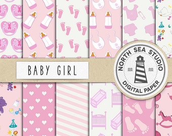 PINK GIRLS, Baby Digital Paper, Shower Paper, Pink Baby Backgrounds, Scrapbook Pages, Party Paper, Commercial Use, BUY5FOR8