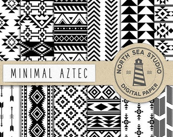 MINIMAL AZTEC, Digital Paper, Tribal Backgrounds, Aztec Patterns, Black And White American Native Patterns, Coupon Code: BUY5FOR8