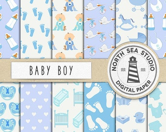 IT'S A BOY, Baby Digital Paper, Baby Shower Paper, Baby Boy Patterns, Commercial Use, Scrapbook Papers, Coupon Code: BUY5FOR8