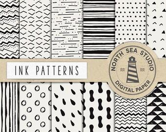 Ink Digital Paper, Black Ink Papers, Hand Painted Patterns, Brush Marks Digital Backgrounds, Digital Download, Don't Forget Use Coupon Code!