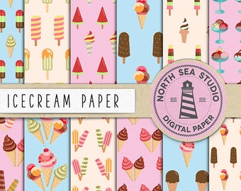 FROZEN SWEETS, Icecream Digital Paper, Ice Cream Backgrounds, Patterned Paper, Icecream Patterns, Instant Download, Coupon Code: BUY5FOR8