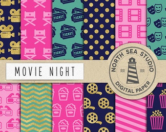 Movie Digital Paper, Cinema Paper, Movie Patterns, Camera, 3D Glasses, Popcorn, Tickets, Printable Paper, Coupon Code: BUY5FOR8