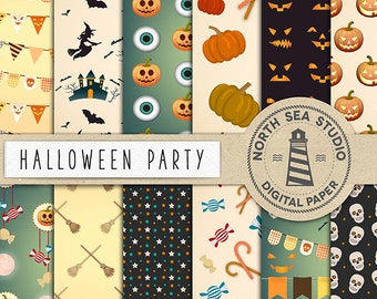 Halloween Digital Paper Pack, Halloween Patterns, Witch, Cat, Bat, Pumpkin, Candy, Party Decor Paper, Coupon Code: BUY5FOR8