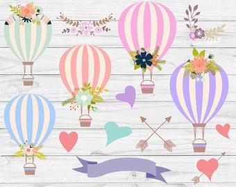 BALLOONS GIRL, Floral Balloons, Hot Air Balloons Clipart, Wedding Clipart, Save The Date, Bridal Shower, 16 Png Images, BUY5FOR8