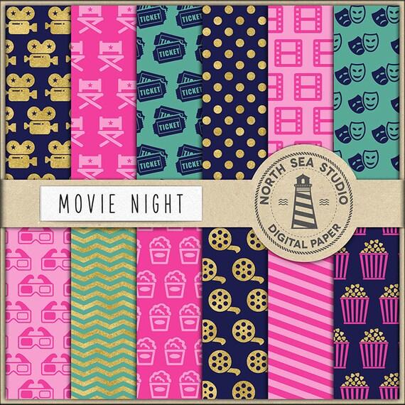 movie digital paper cinema paper movie patterns camera 3d