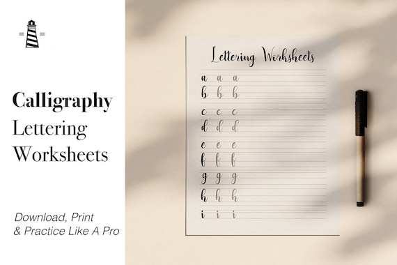 Calligraphy Lettering Practice Sheets, Printable Lowercase Alphabet Letters,  Modern Calligraphy Lettering By North Sea Studio Catch My Party
