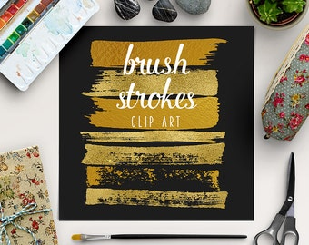 Paint Stroke Brushes | Gold Brush Strokes Clipart | Gold Graphic Elements | Gold Foil Digital Clip Art | Goldy Splotches Overlay | BUY5FOR8