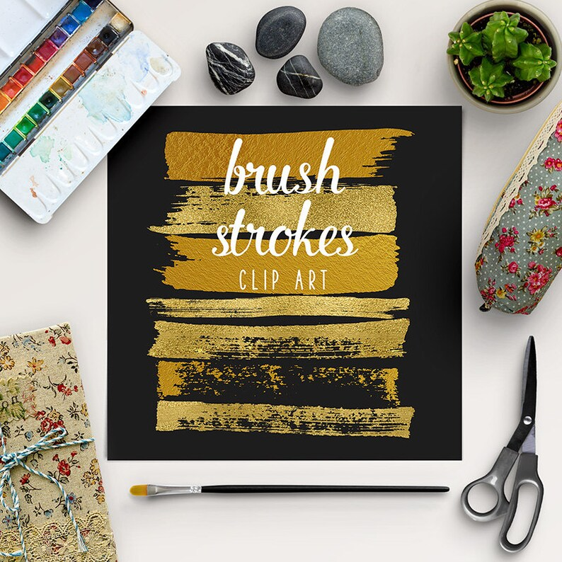 Paint Stroke Brushes  Gold Brush Strokes Clipart  Gold image 0