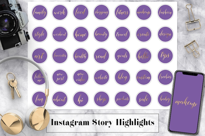 Violet & Gold Instagram Story Highlight Icons, Gold Instagram Story  Highlight Template, Fashion, Style, Blog, Family, Text Instagram Icons