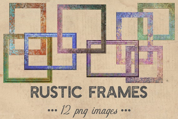 Rustic Frames Clipart Vintage Wood Colorful