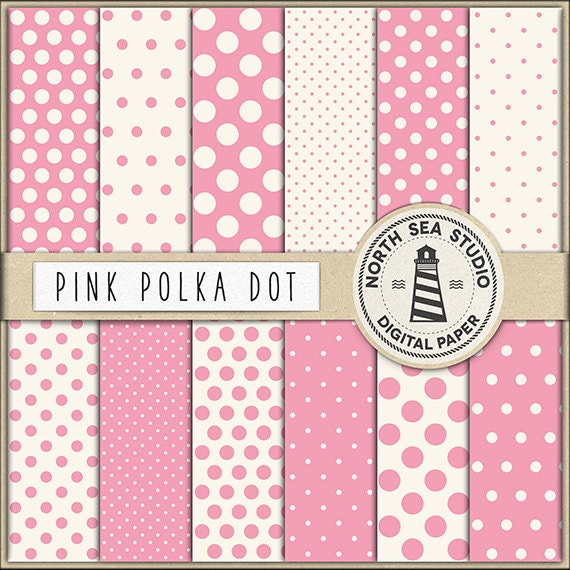 love pink polkadot digital paper polka dot paper pink backgrounds digital scrapbooking 12 jpg 300 dpi files download by north sea studio catch my party love pink polkadot digital paper polka