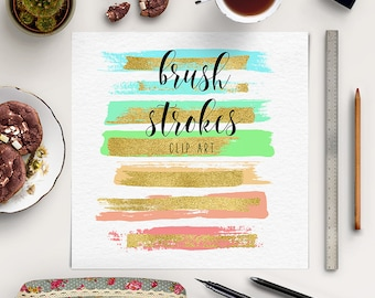 Colorful Brush Strokes With Gold Foil | DIY Clip Art | Hand Painted Overlays | Gold Brush Strokes | Logo Design, Blog Elements | BUY5FOR8