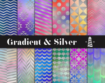 Gradient & Silver Digital Paper, Colorful Gradients With Silver Foil Patterns, For Scrapbooking Projects, Multicolored Backgrounds, BUY3FOR6
