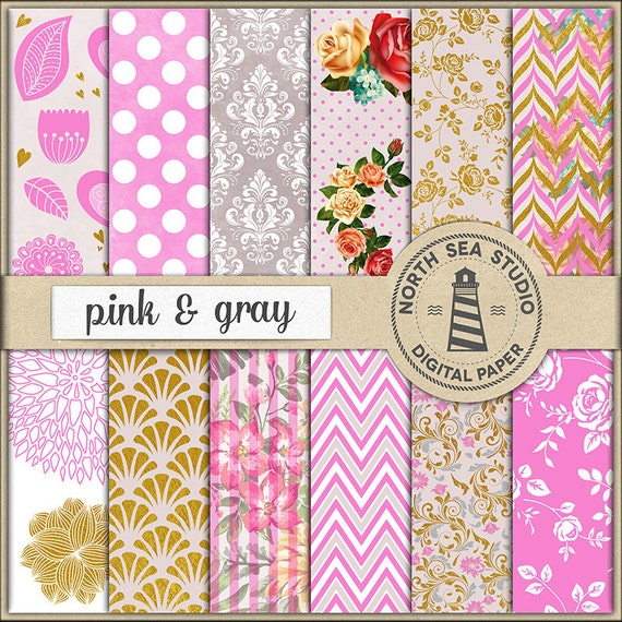 Pink And Gray Digital Paper Pack Pink Gray Scrapbook Paper Etsy