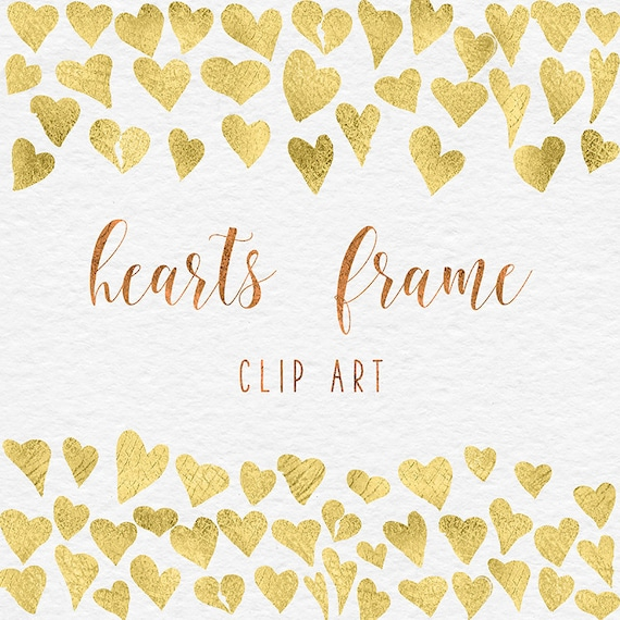 Gold Heart Frames Clipart Hand Painted Golden Hearts Gold | Etsy