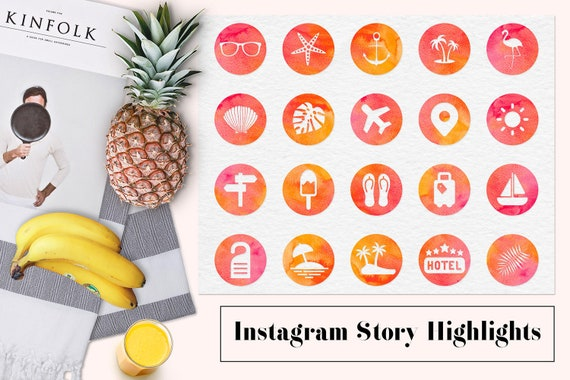 summer instagram story highlights watercolor instagram icons watercolour highlight covers traveling instagram icons by north sea studio catch my party summer instagram story highlights