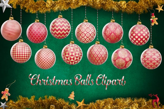 Red and gold christmas balls christmas tree decoration clip etsy