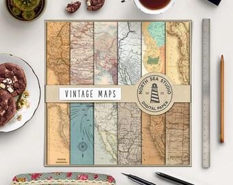 Vintage Maps Digital Paper, Old Maps Backgrounds, Old Map Patterns, Antique Paper, Instant Download, Coupon Code: BUY5FOR8